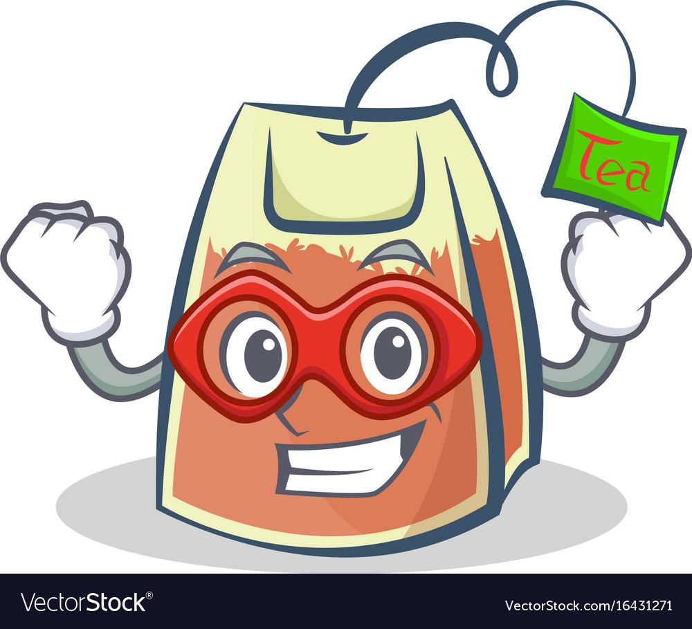 Super hero tea bag character cartoon