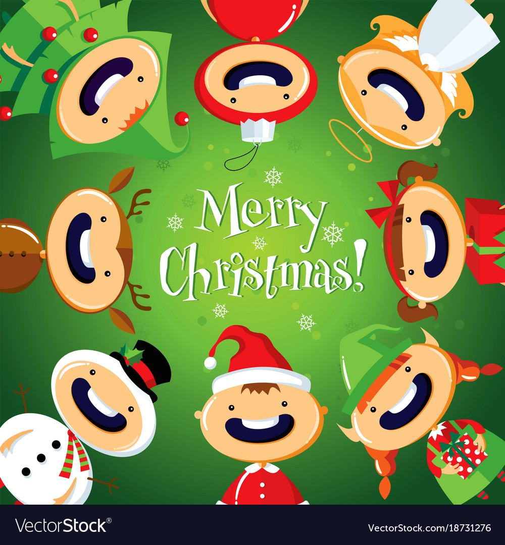 Christmas card with cute cartoon children in color