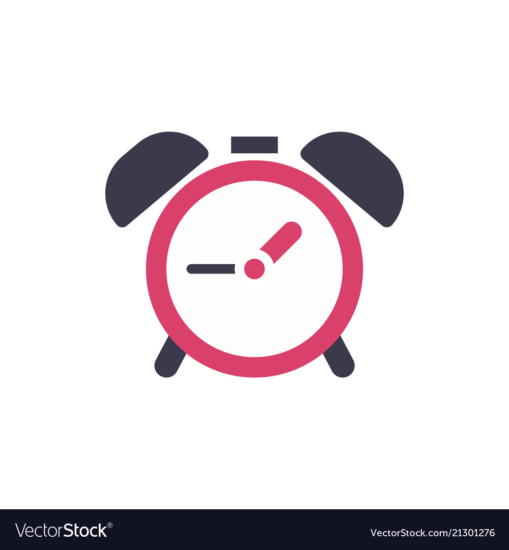 Clock alarm icon - time sign - flat