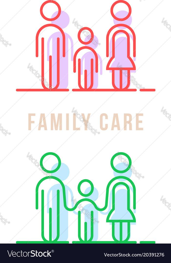 Color thin line family care logo