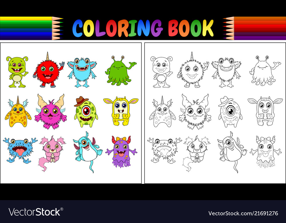 Coloring book with monsters cartoon collection