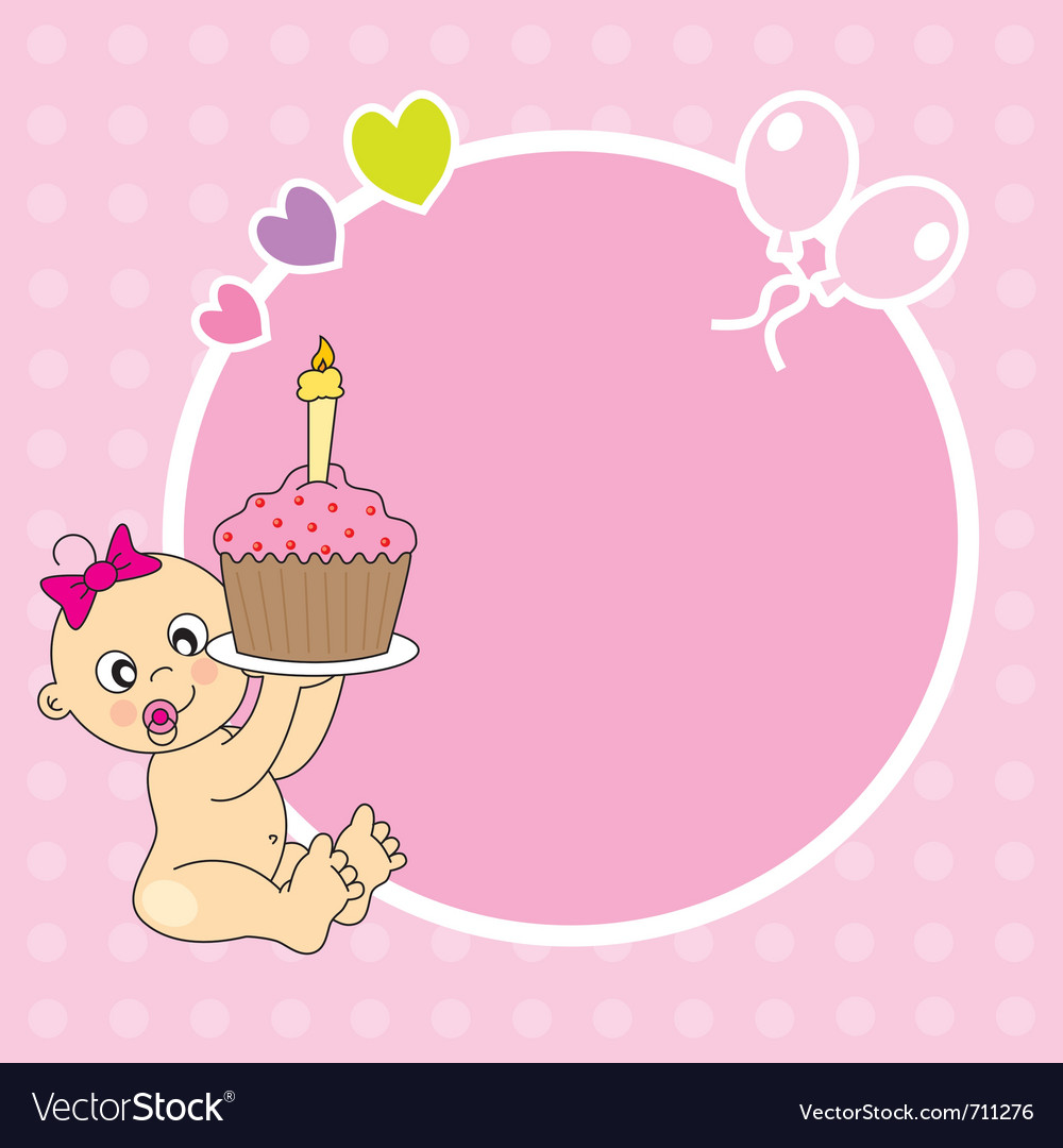 Frame baby girl with cake Royalty Free Vector Image