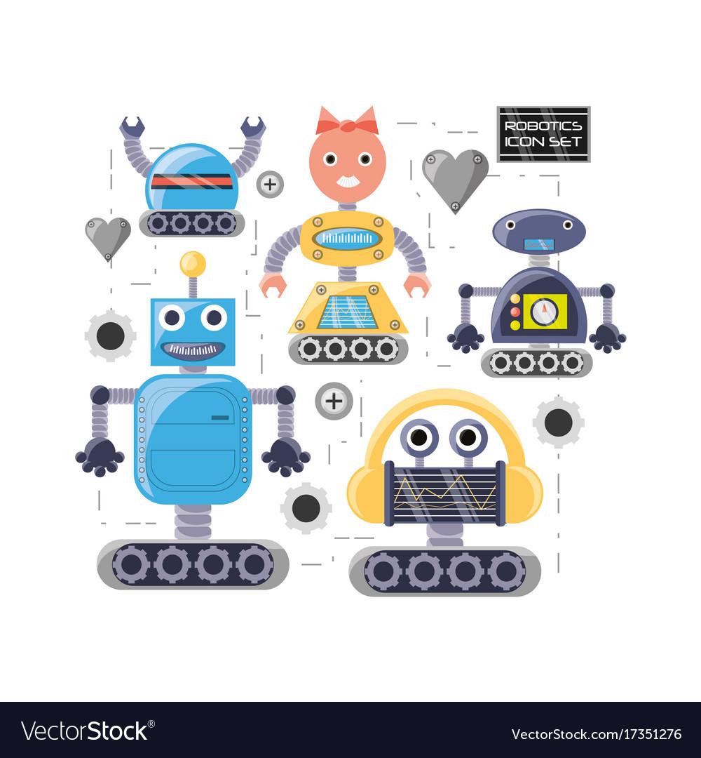 Group Of Robot Cartoon Design Royalty Free Vector Image