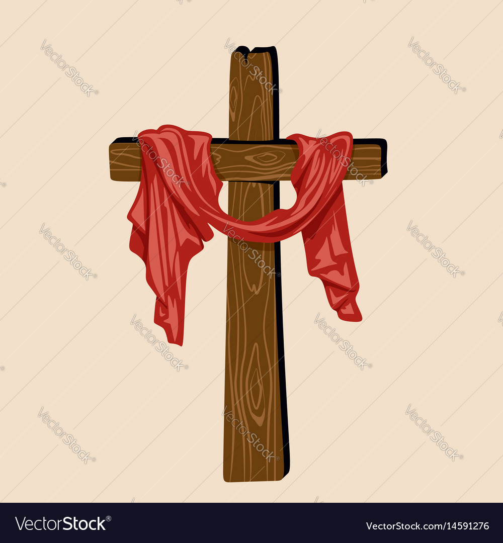 hand drawn cross of jesus with drapery royalty free vector