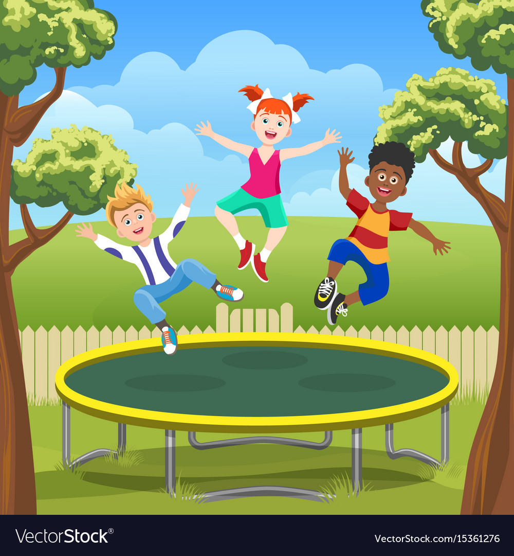 Jumping Kids On Trampoline In Backyard Royalty Free Vector