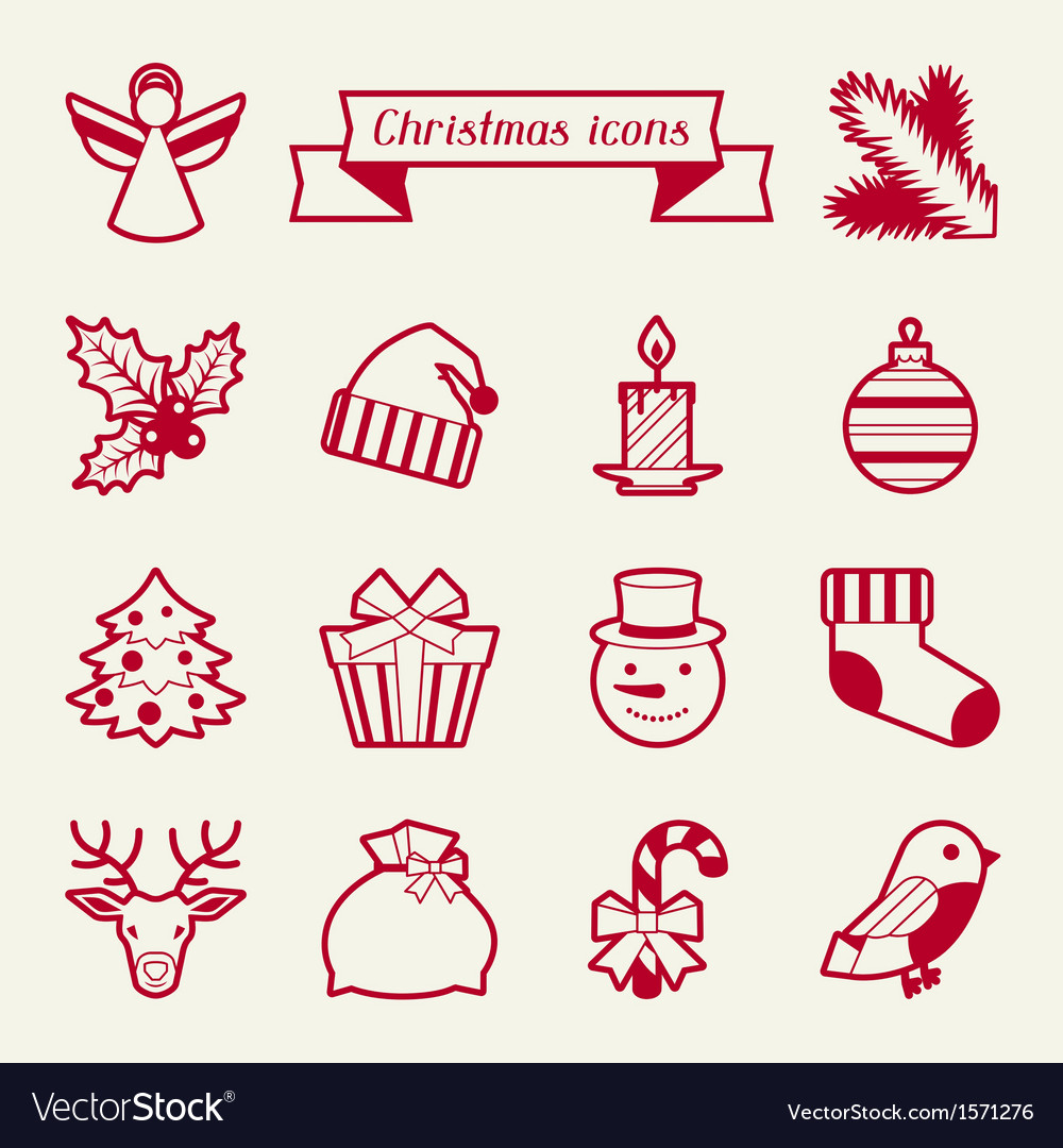 Set of Merry Christmas icons and objects