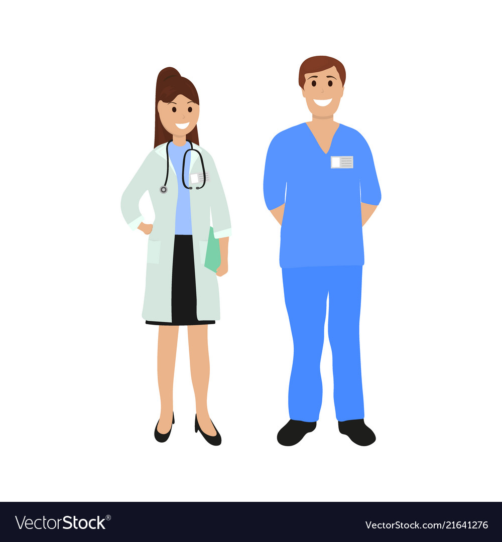 Two doctor in hospital flat design