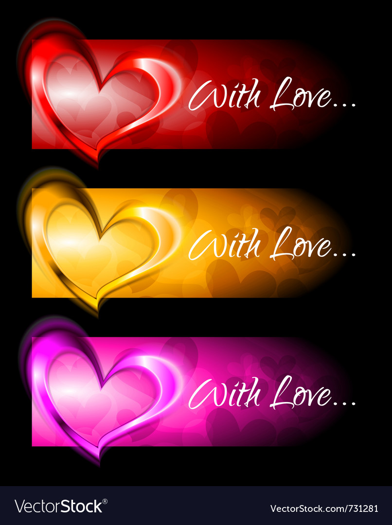 Abstract banners with hearts vector