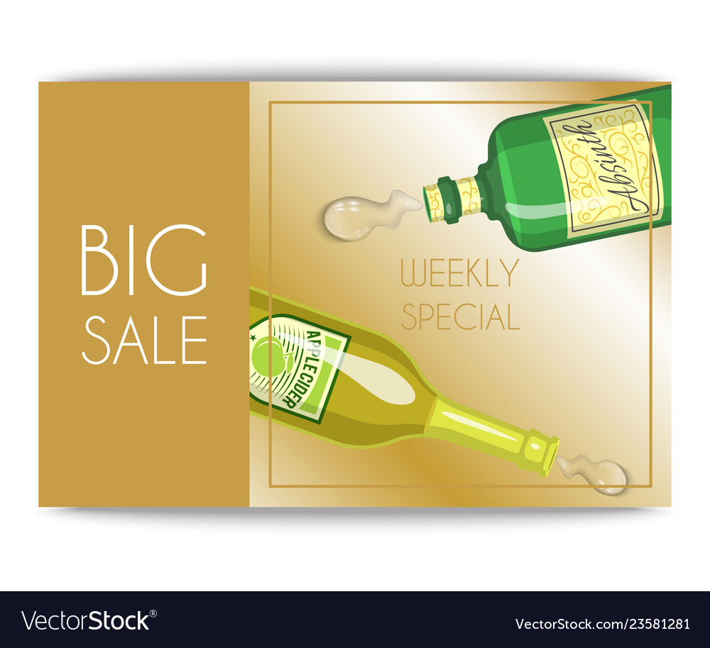 Alccohol sale banner wine list template for bar or