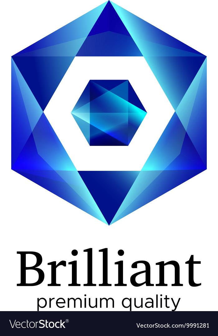 Blue shiny polygonal hexagon diamond icon