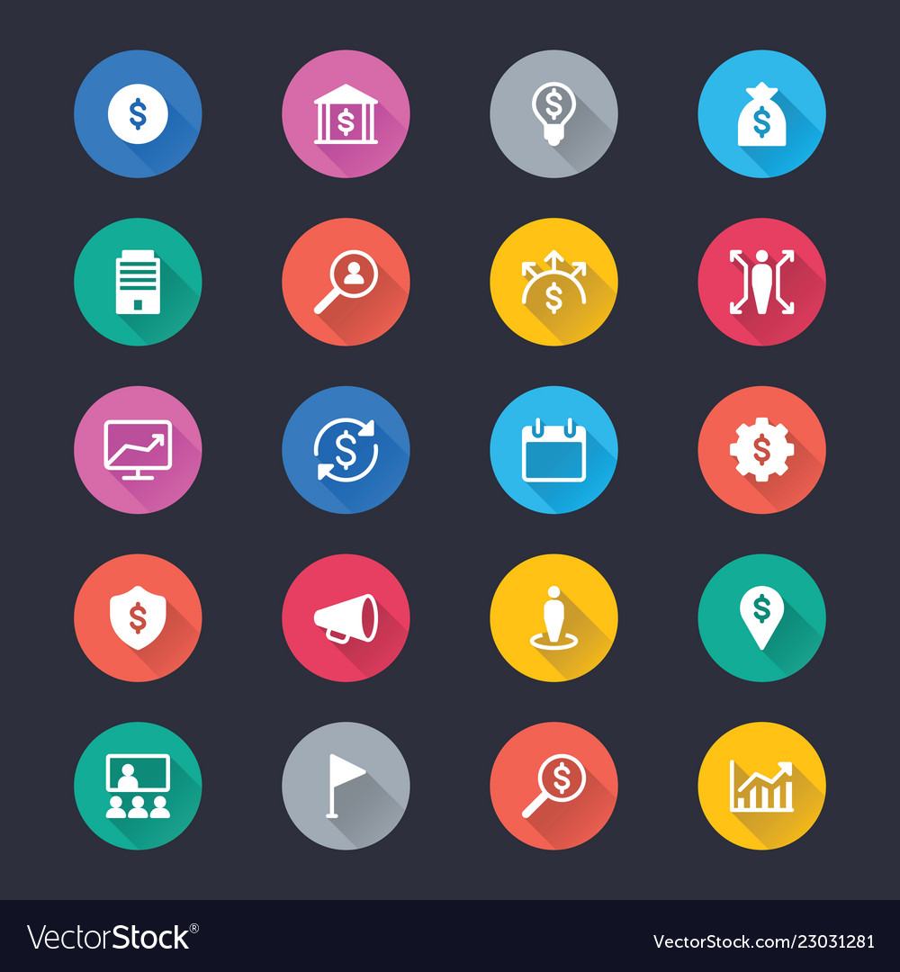 Business simple color icons