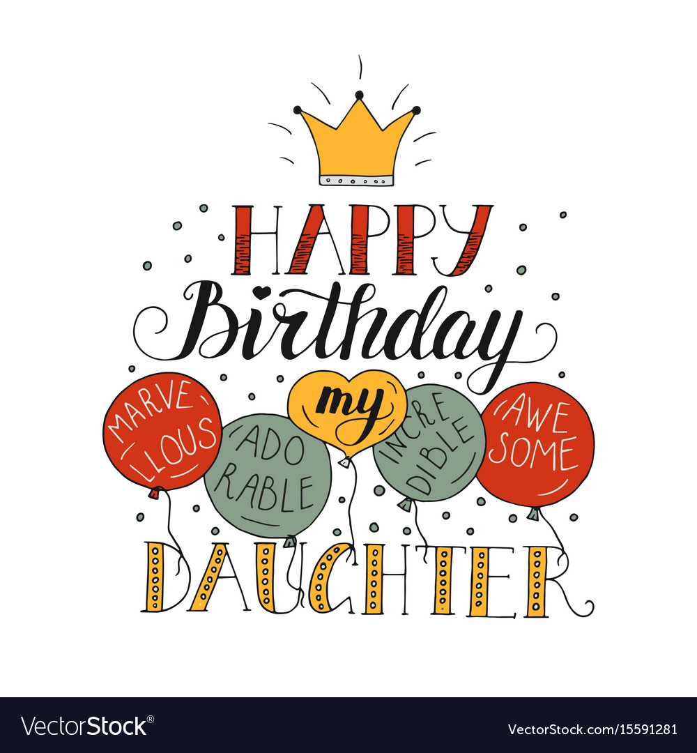 Remarkable Color Birthday Card For Daughter Royalty Free Vector Image Funny Birthday Cards Online Inifodamsfinfo