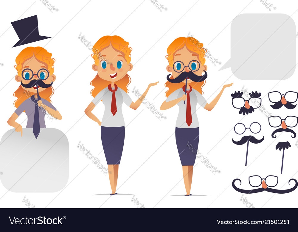 Cute girl character with glasses various shape