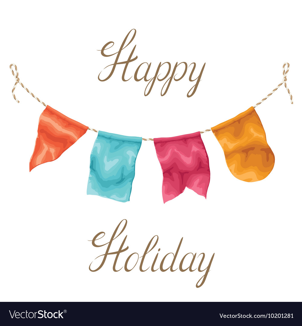 Happy holiday greeting card with garland of flags