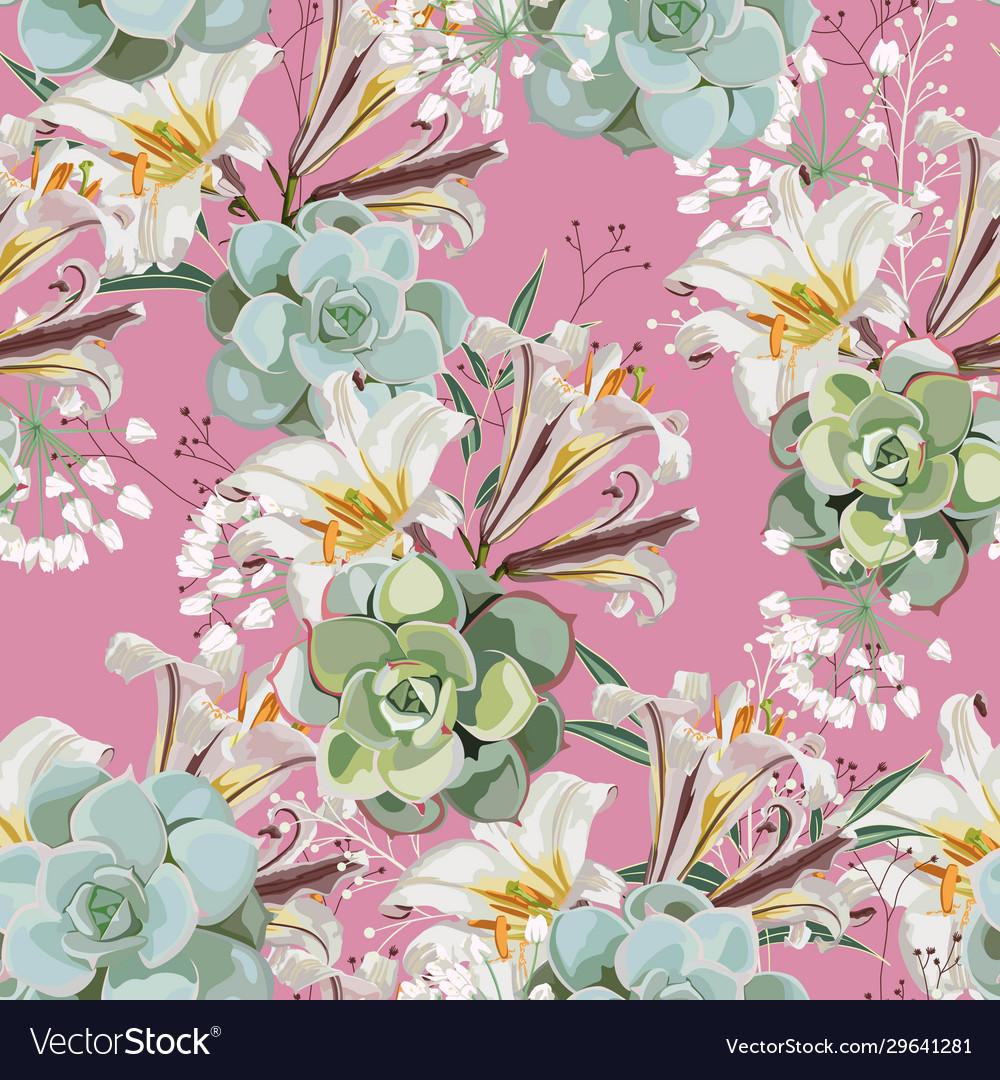 White royal lilies flowers pattern