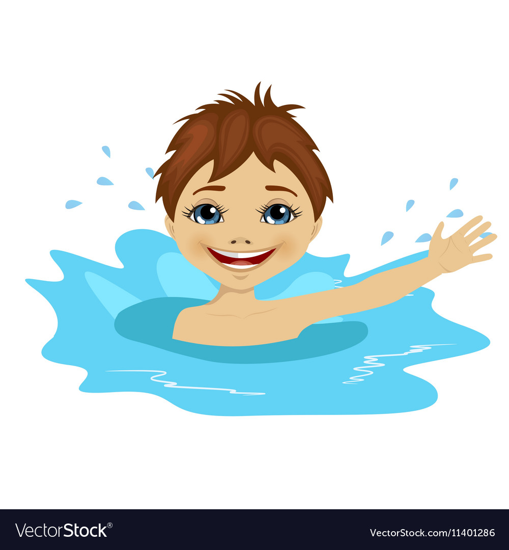 Active little boy swimming happy in the water vector image