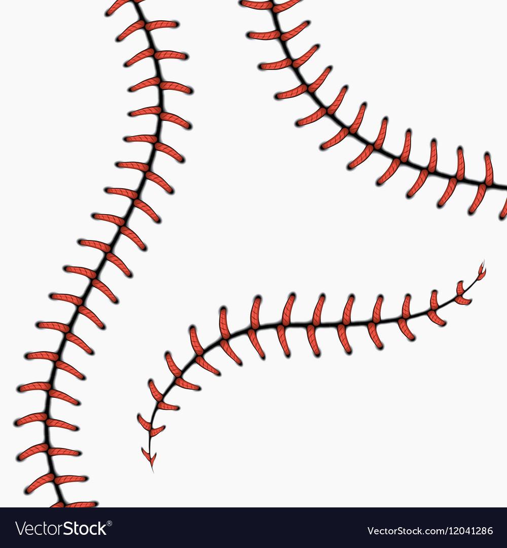Baseball stitches softball laces isolated on