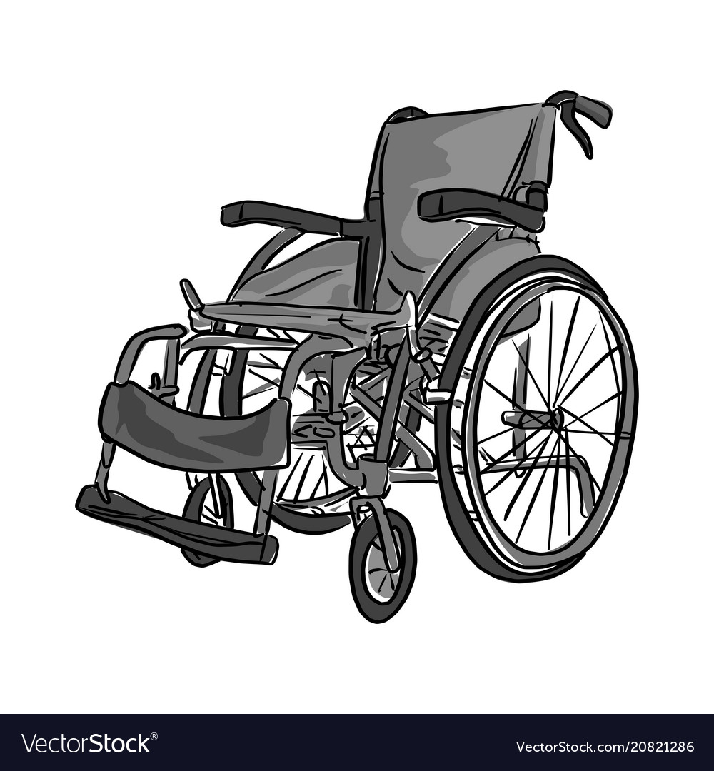 Black and white wheelchair sketch