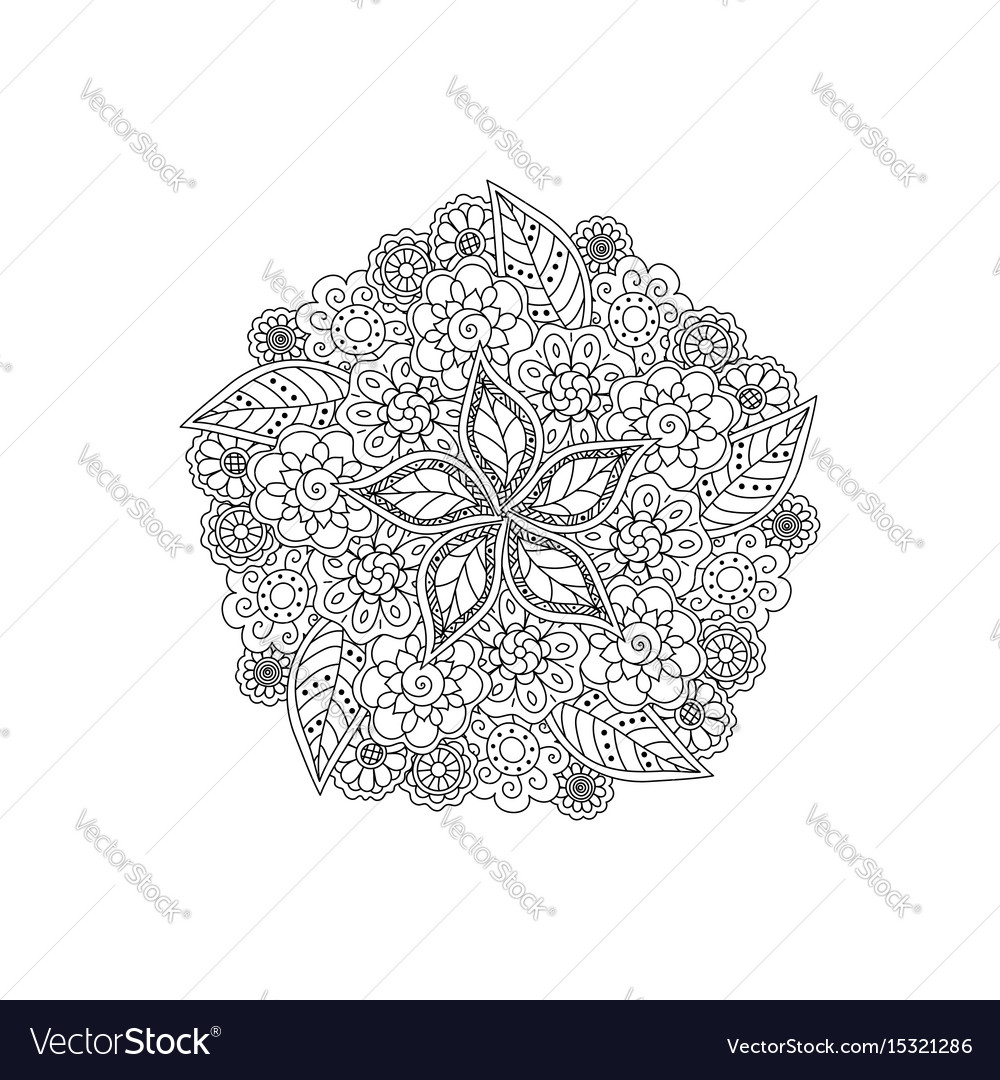 Deco black floral mandala patterned design