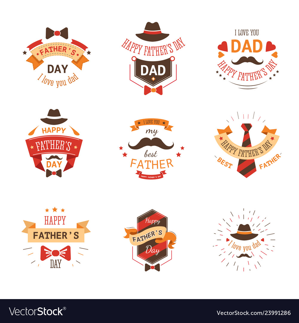 Fathers day isolated icon mustache and hat tie and