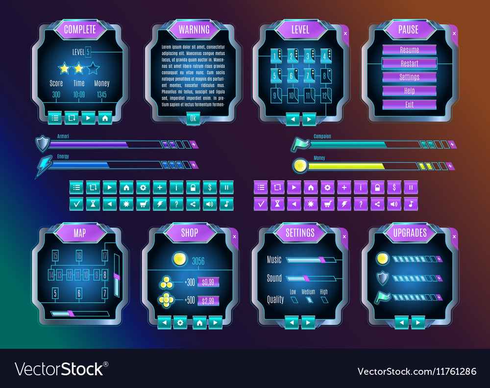 Game UI Space Graphical User Interface Set