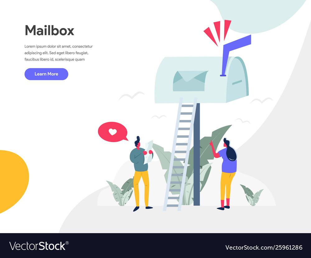 Mailbox concept modern flat design concept web