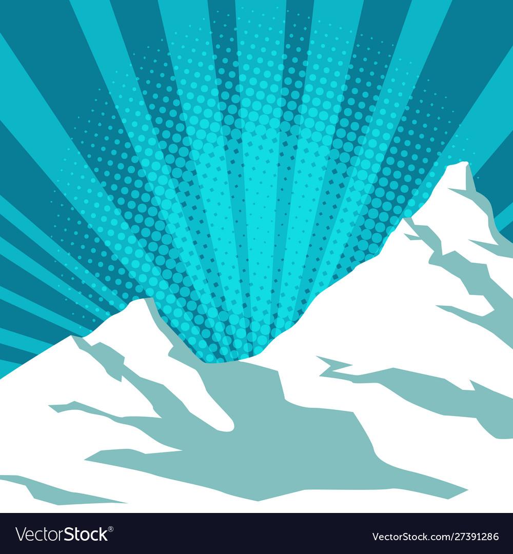 Pop art snow mountain