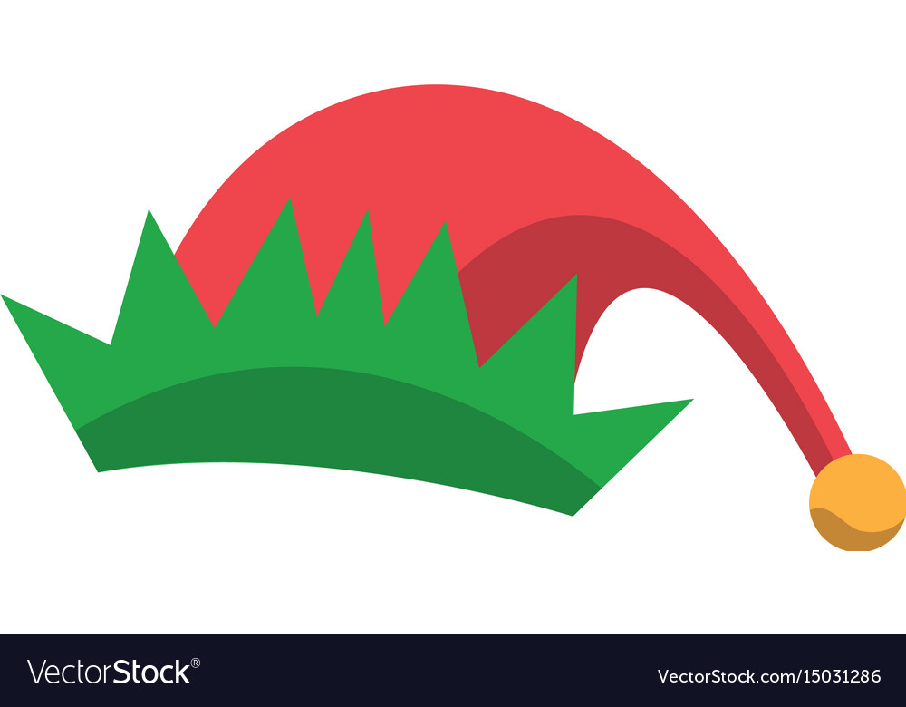 Red and green hat of elf christmas icon