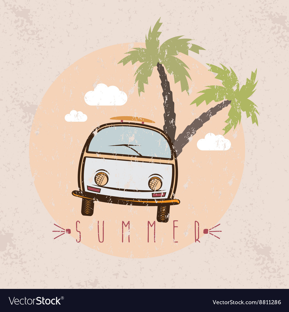 Retro bus with surfboard grunge design template