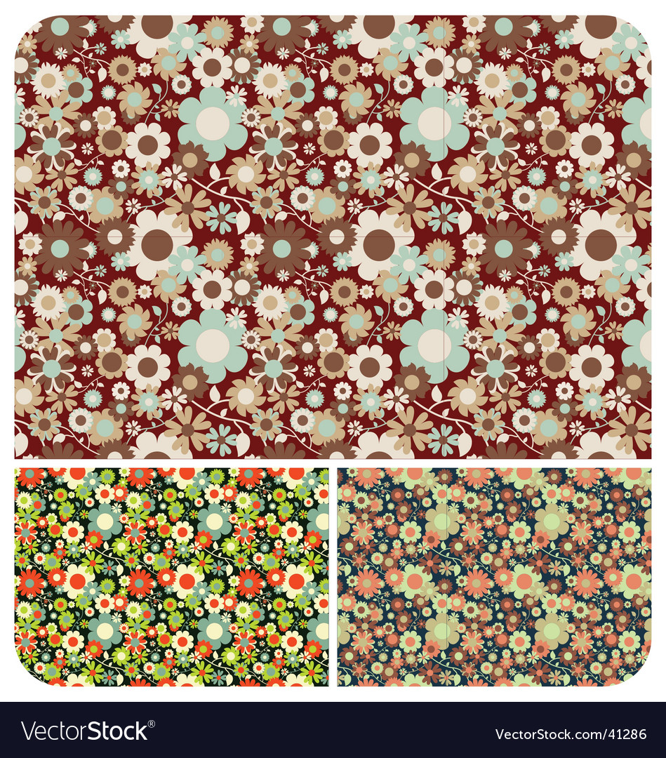 Seamless flowers pattern set of