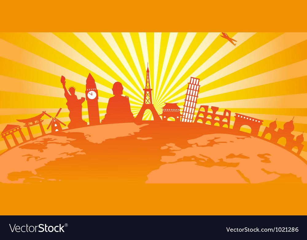Travel around the world on golden sunburst