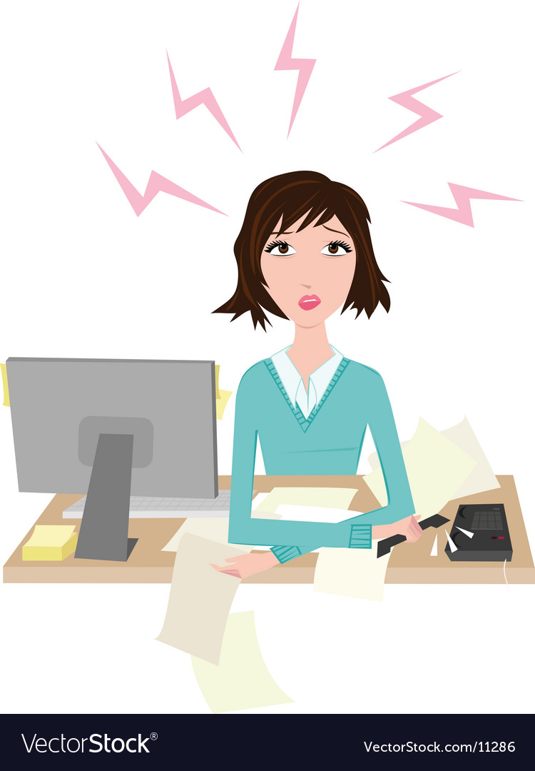 Woman stressed at work vector image