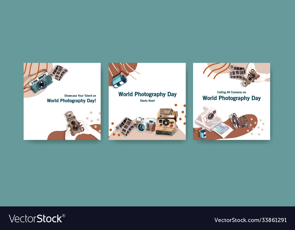 Advertise template design with world photography