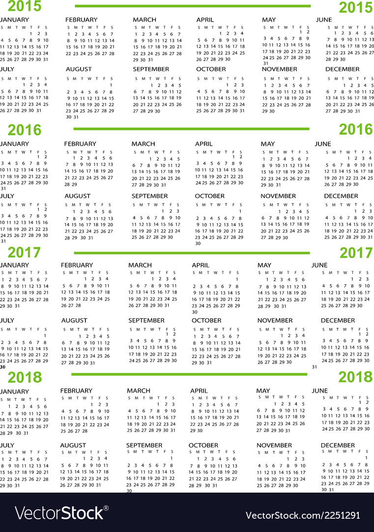 3 year calendar 2015 to 2018
