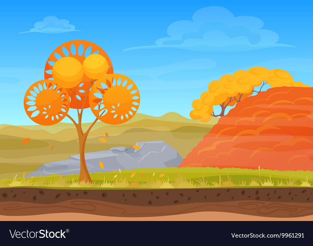 Cartoon nature autumn landscape in sun day with