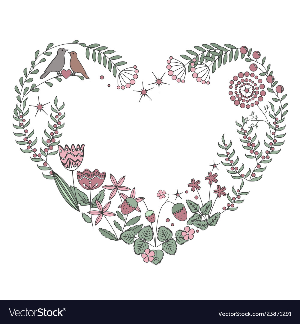 Floral heart frame with isolated flowers herbs