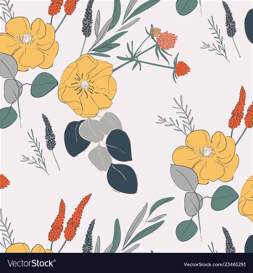 Hand drawn botanical pattern with red flowers