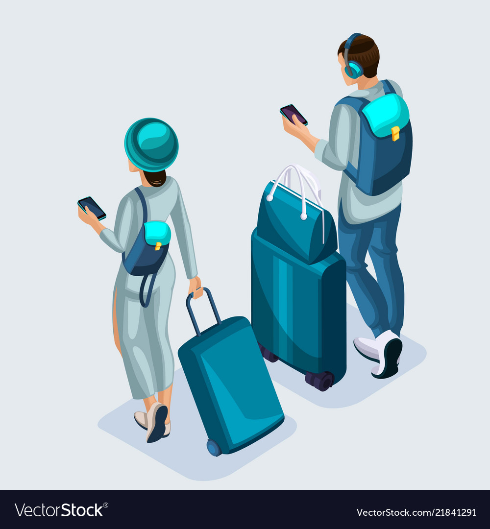 Isometric young girl and man at the airport