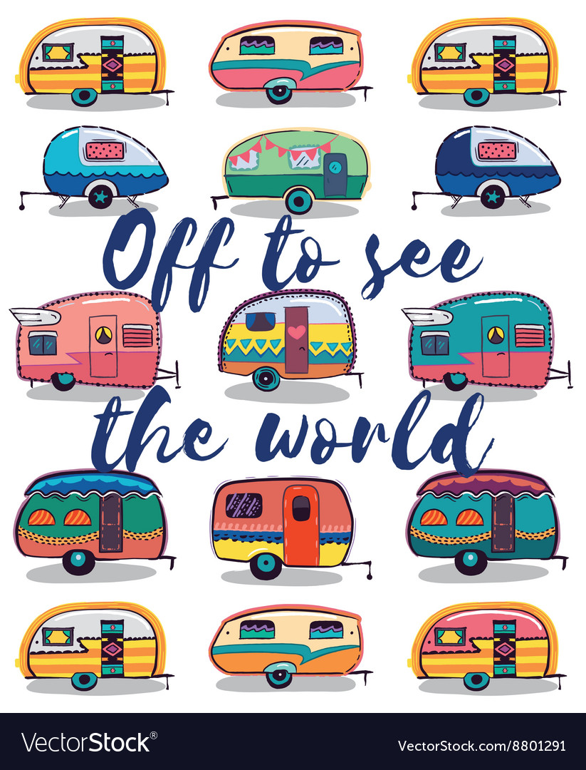Off to see the world happy camper card