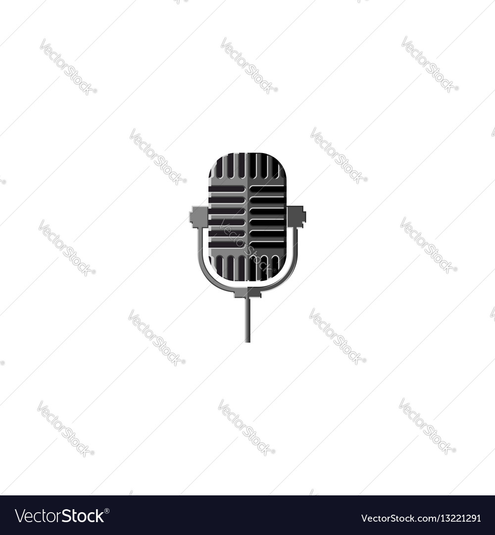 Old metal microphone isolated design element for a