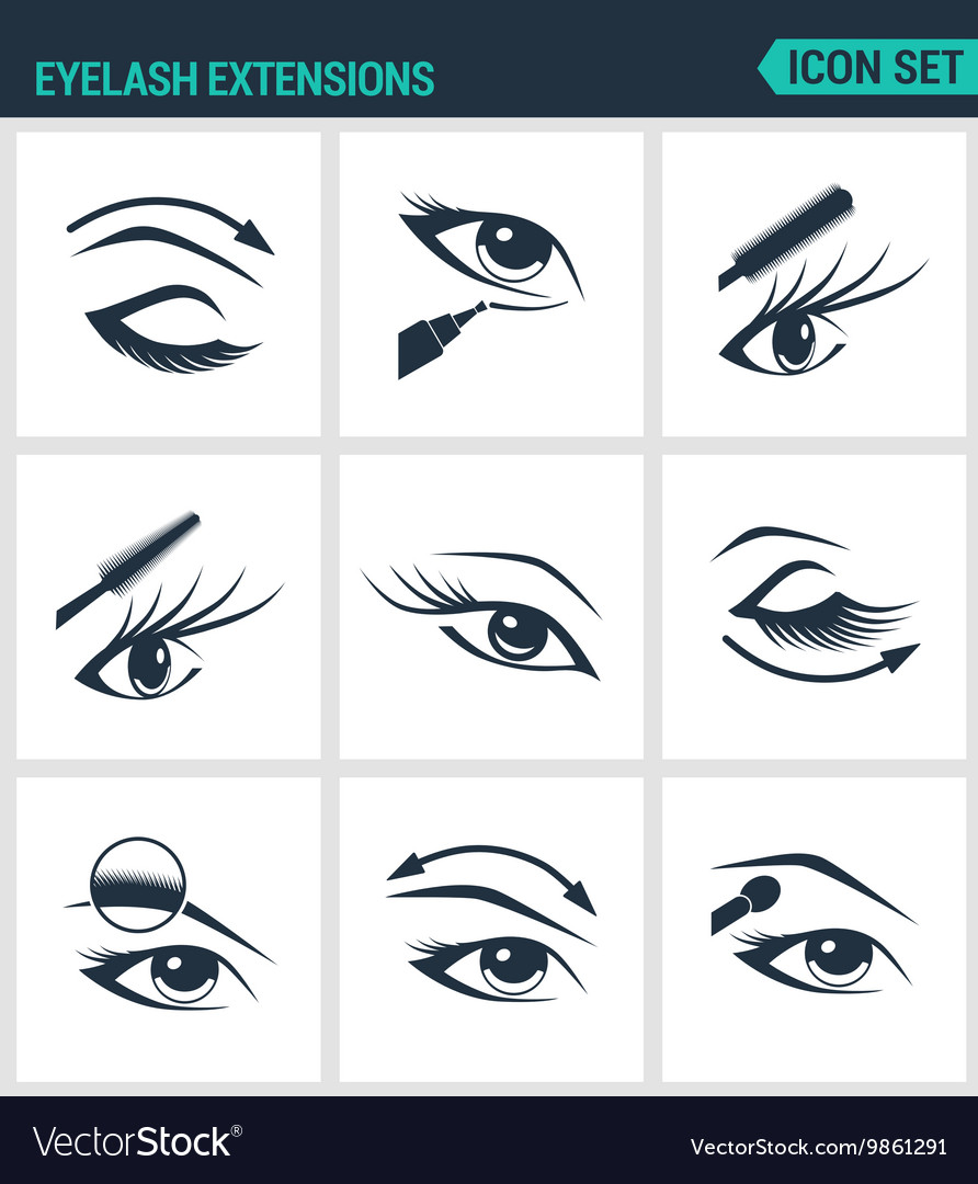 Set of modern icons Eyelash extensions