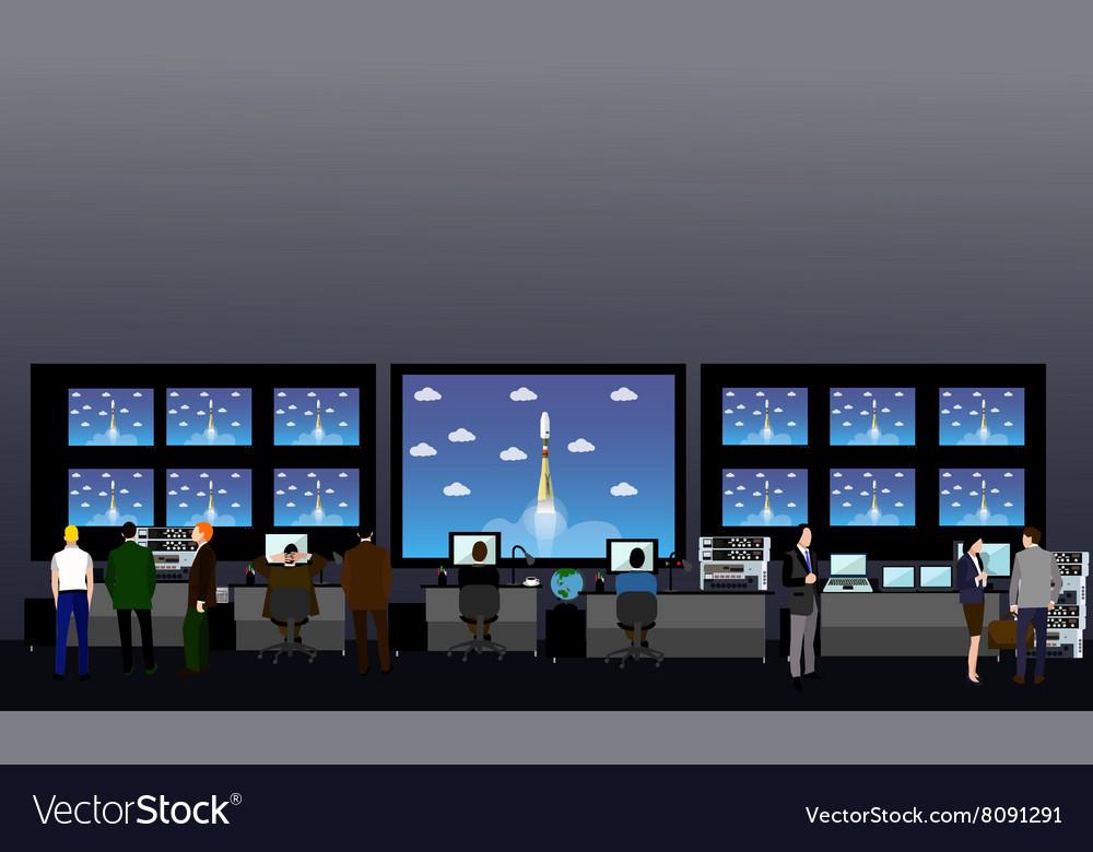 Space mission control center Rocket launch