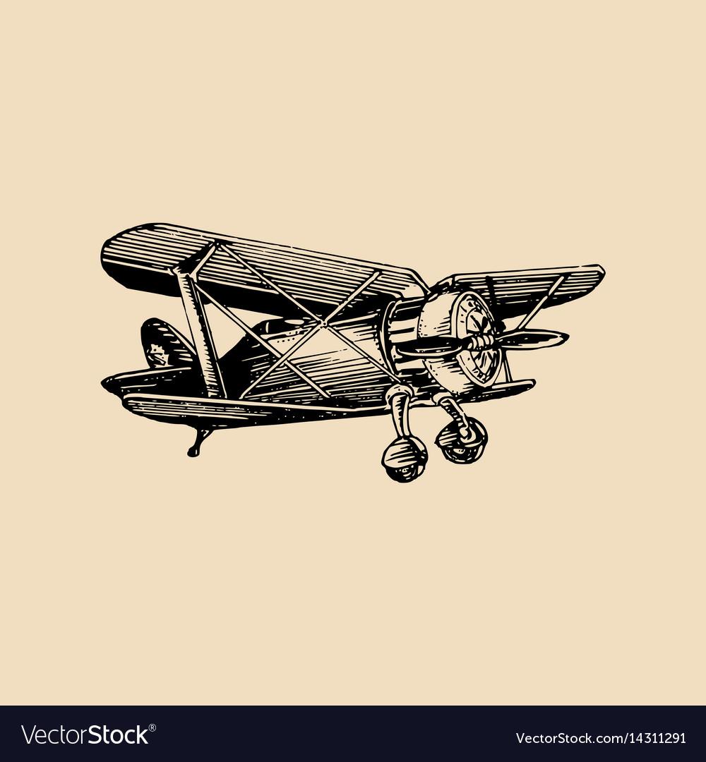 Vintage retro airplane logo hand sketched