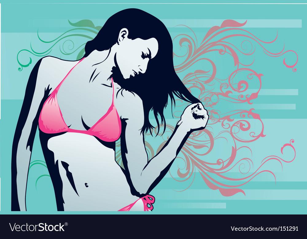 Woman beach sexy vector image
