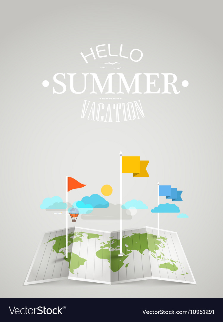 World map with different marks Summer travel