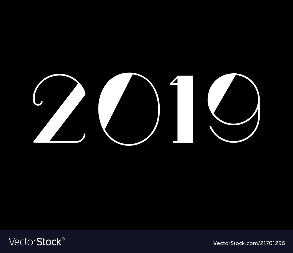 2019 happy new year text design