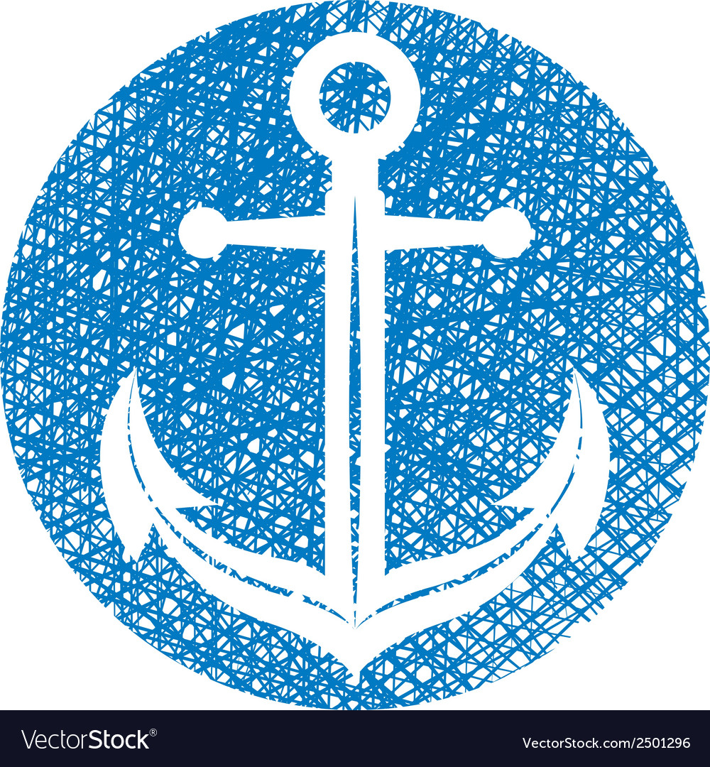 Anchor icon with hand drawn lines texture
