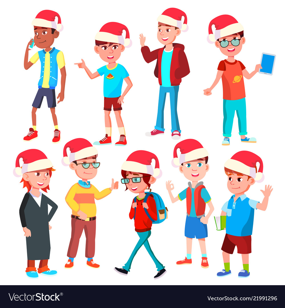 Christmas children set santa hat boys and