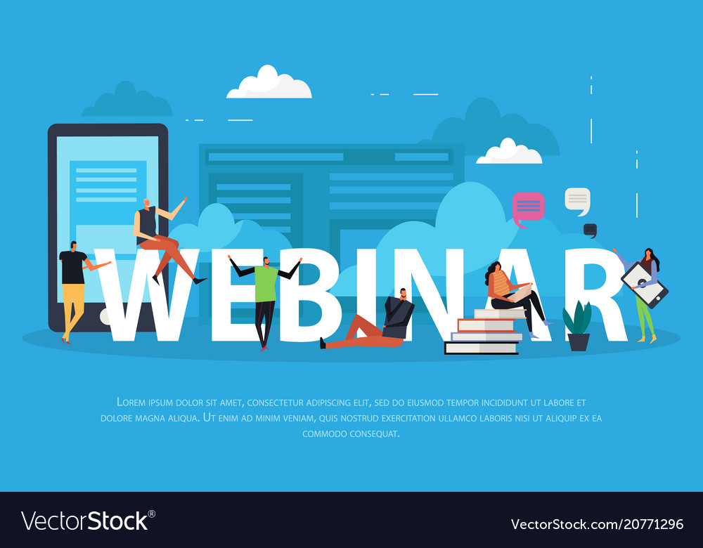 e learning webinar flat landing page royalty free vector