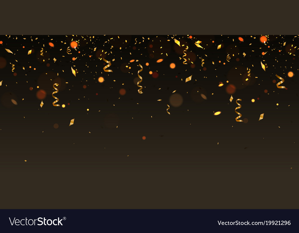 Golden cofetti falling on brown background